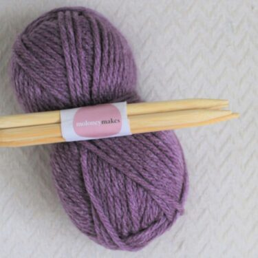 10mm double pointed needles and super chunky yarn in bramble