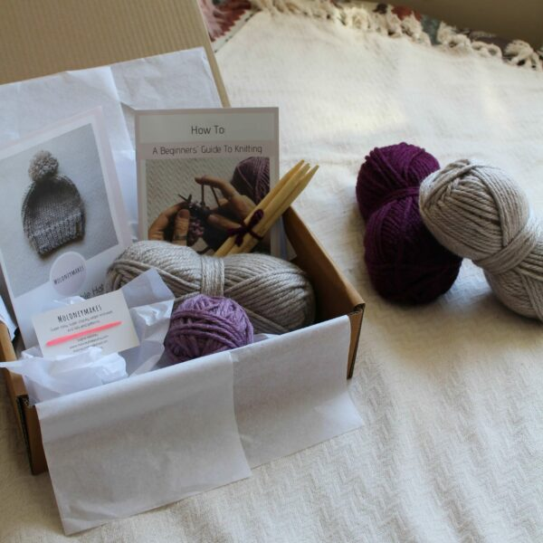 Bobble Hat Knitting Kit By Moloneymakes