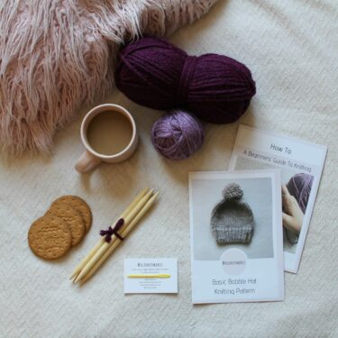 Bobble Hat Knitting Kit Flat Lay By Moloneymakes