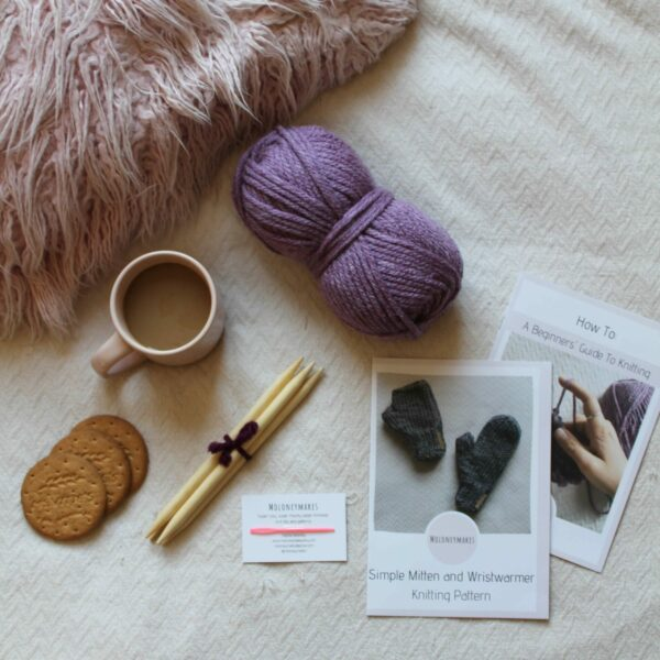 Simple Mitten Knitting Kit Flat Lay By Moloneymakes