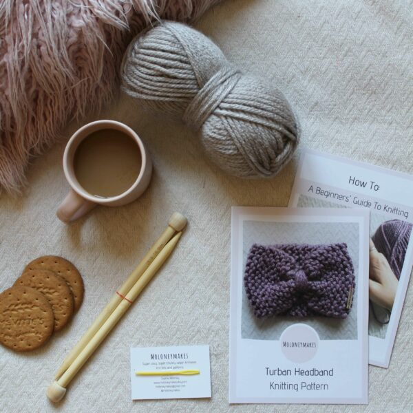 Turban Headband Knitting Kit Flat Lay By Moloneymakes