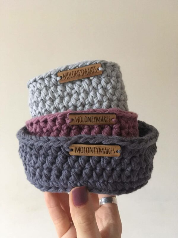 trio of crochet pots stacked by Moloneymakes
