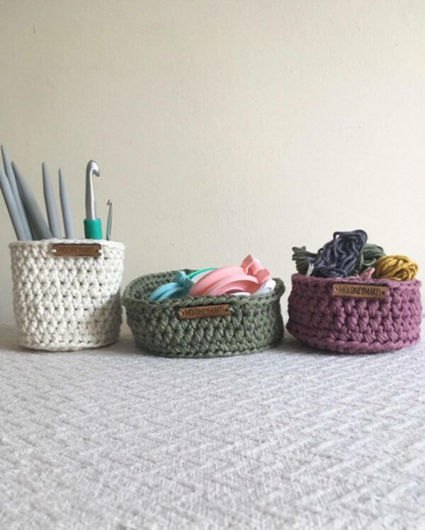 trio of crochet pots with props by Moloneymakes