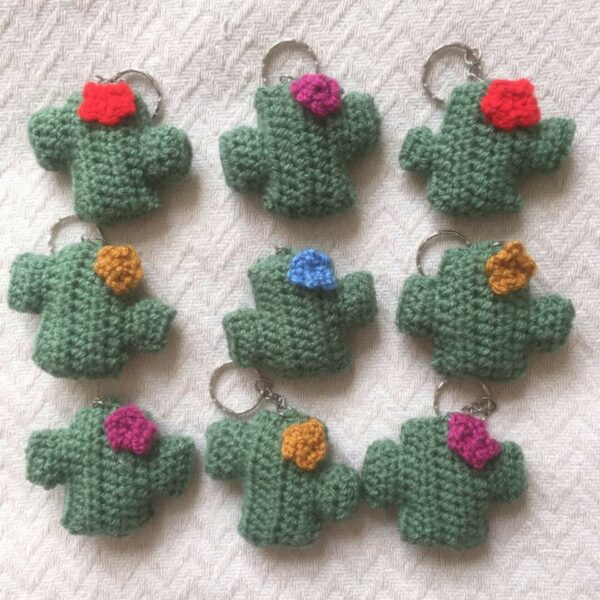 crochet cactus keyrings in various colours by Moloneymakes