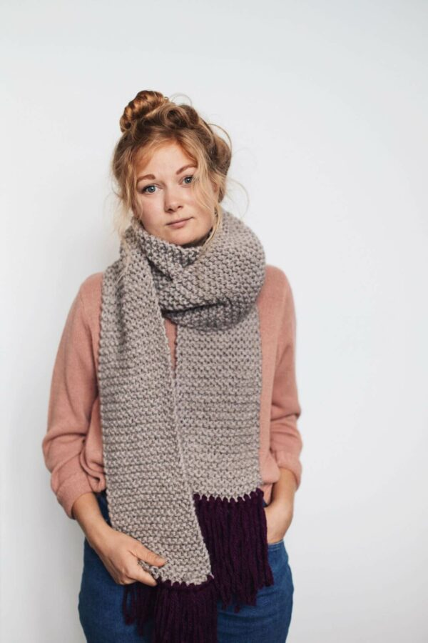 Moloneymakes Willow Tassel Scarf Modelled