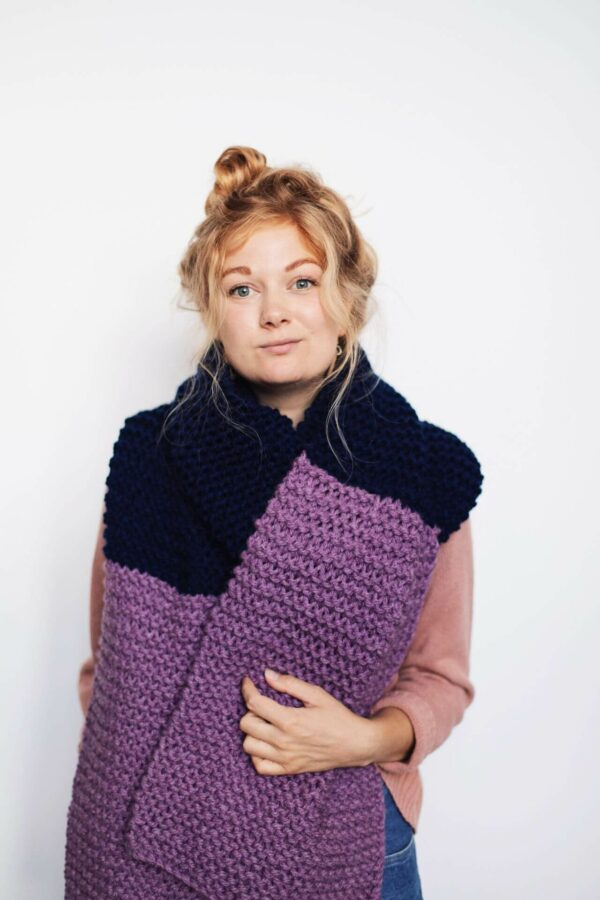 Moloneymakes Giant Blanket Scarf Knitting Kit Modelled