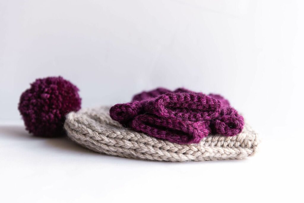 Moloneymakes Super Chunky Vegan Knitwear. Christmas gifts Bobble Hat and Wristwarmers.