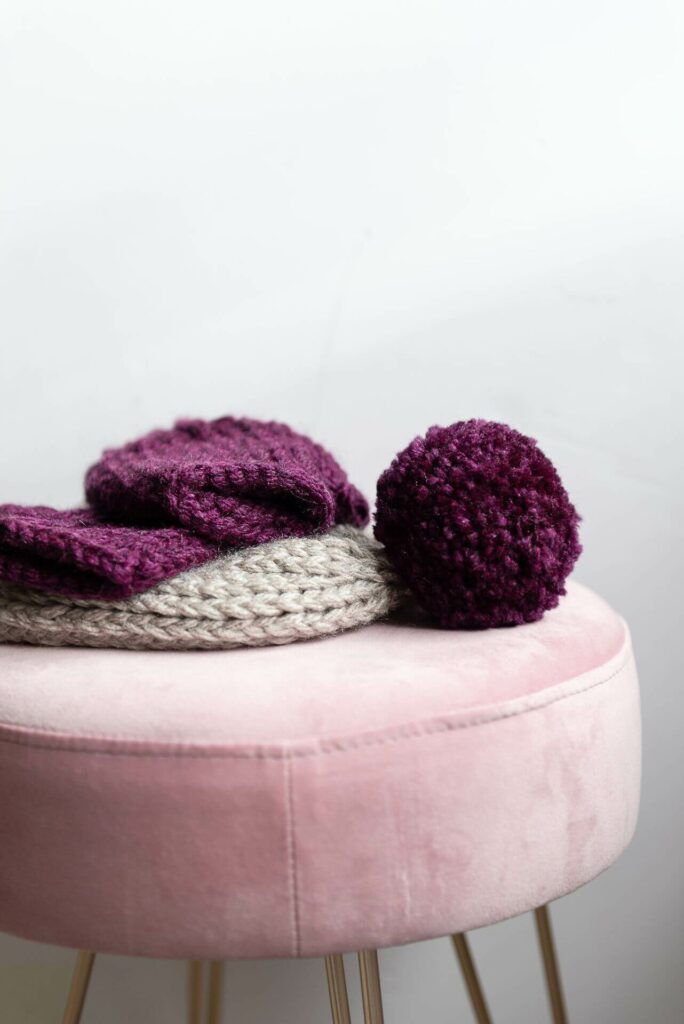 Moloneymakes Bobble Hat and Wristwarmers. Super Chunky Vegan Knitwear