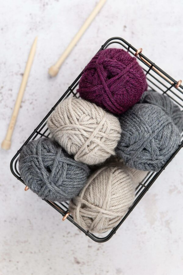 Moloneymakes Super Chunky Vegan Yarn Bundle In Basket and Bamboo Knitting Needles