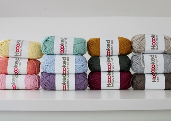 Stacks of balls of hoooked recycled cotton yarn