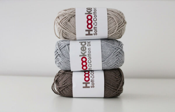Stack of 3 balls of hoooked recycled cotton