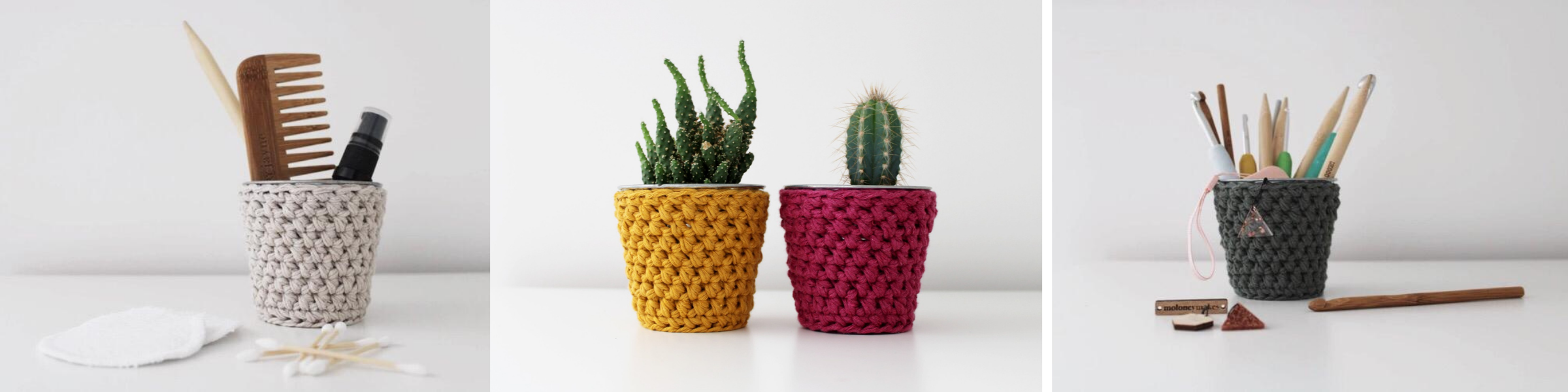 Crochet pots from mini crochet pot kit shown for use in bathroom, as plant pot and for craft tools