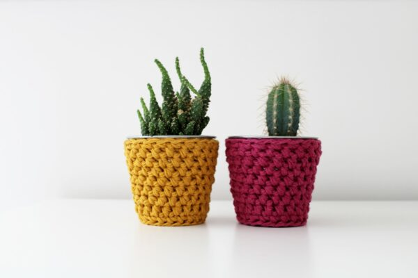 Pair of mini crochet pots. Crochet pot covers in mustard and plum