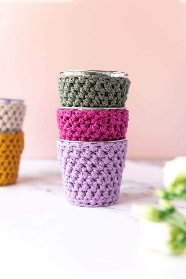stack of 3 mini crochet pots in lilac, khaki and plum