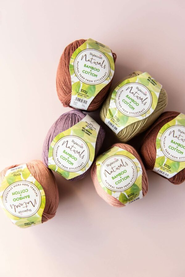 6 balls of stylecraft naturals bamboo and cotton in umber, thyme, raisin and cameo