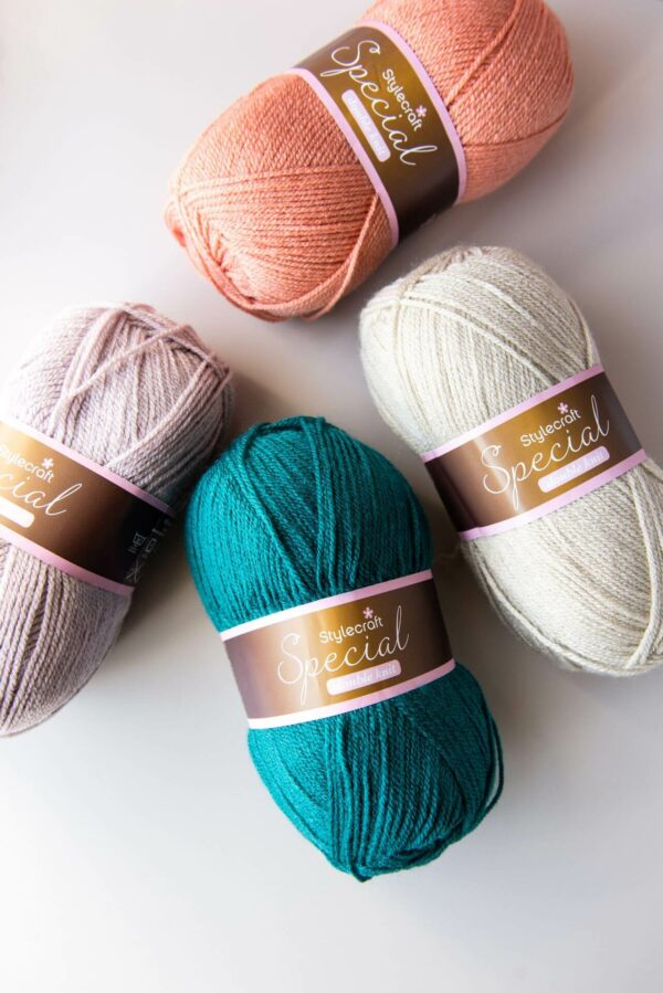 4 balls of stylecraft special dk in vintage pink, mushroom, teal and parchment
