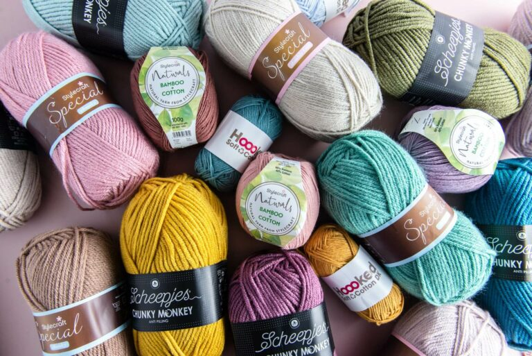 yarn bundle of varying yarn weights featuring a mix of acrylic, bamboo cotton and recycled cotton yarns from stylecraft, scheepjes and hoooked