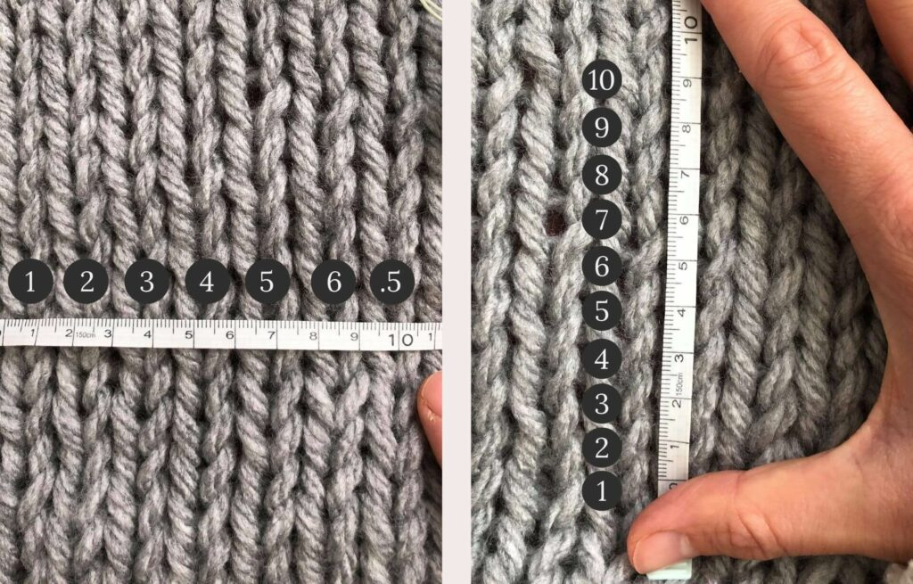 Visual guide of how to check your gauge. On the left, the number of stitches is counted, on the right the number of rows are counted