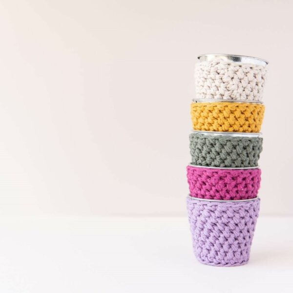 stack of 5 mini crochet pots in lilac, plum, khaki, mustard and sand