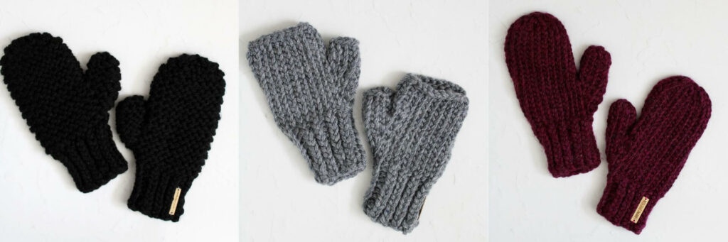 knit mitten christmas gifts - lila mittens in black, sawyer wristwarmers in graphite and sawyer mittens in redcurrant