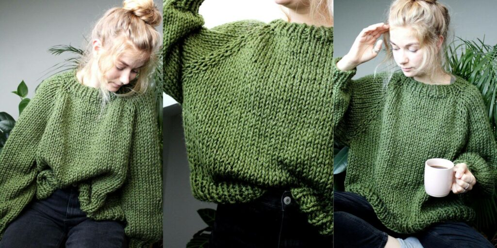 Sophie wears your new favourite jumper, a super chunky knit jumper in fern