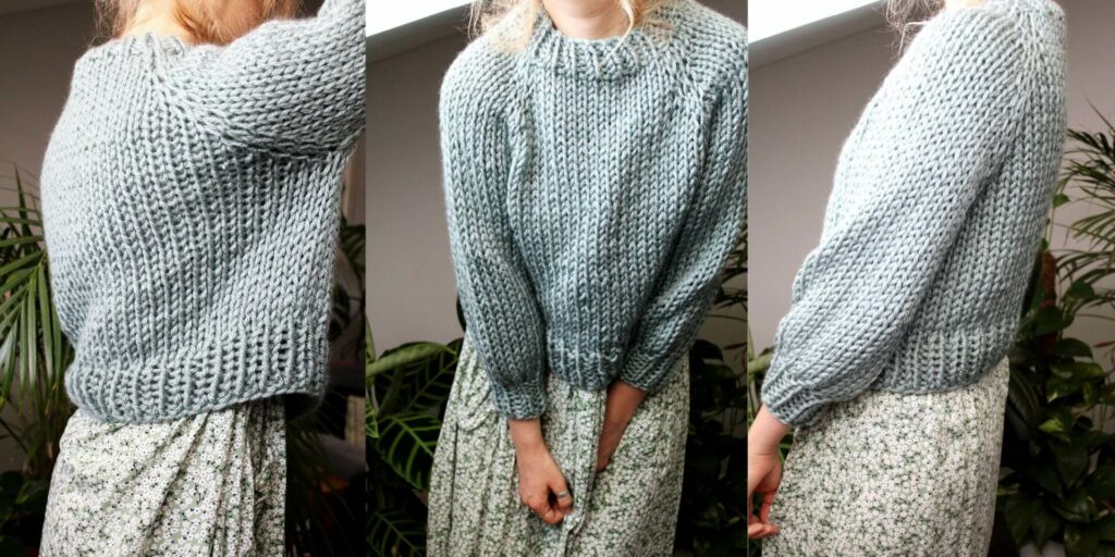 Sophie wears your new favourite jumper, a super chunky knit jumper in glacier